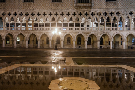 doges  palace: San Marco Square and the Doges Palace at night. Venice, Italy Editorial