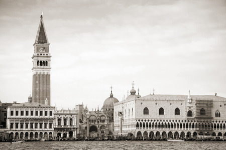 saint mark square: Doges Palace and St Marks Campanile in Venice, black and white, Italy, Europe