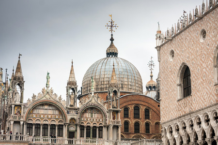 saint mark square: Cathedral of San Marco, Venice, Italy. Roof architecture details