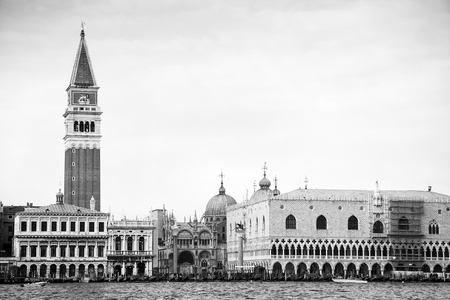 italy: Doges Palace and St Marks Campanile in Venice, black and white, Italy, Europe