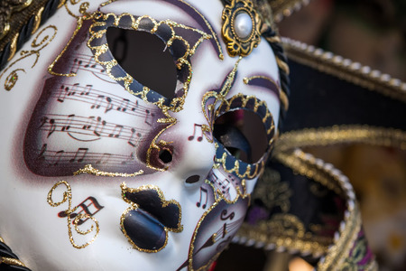 Gold traditional venetian carnival mask. Venice, Italy Europe Banco de Imagens - 46859733