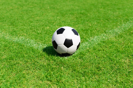 ballsport: soccer ball on soccer field conner