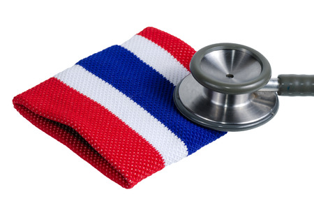 Medical stethoscope and Thailand flag symbol on isolate