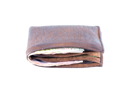 Leather wallet  Isolated on a white background  photo