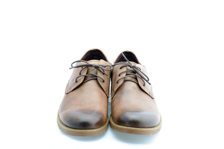 Leather brown shoes isolated on white background  Stock Photo