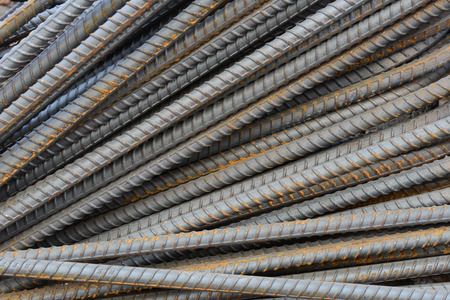 reinforcing: Steel bars close- up background. Reinforcing bar background. Stock Photo