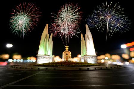 democracy monument: Firework at democracy monument in bangkok, Thailand.