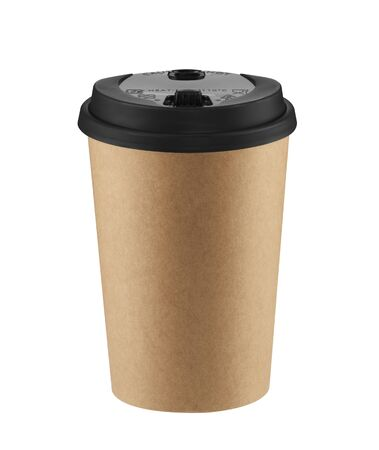 Brown disposable coffee cup isolated on white background with clipping path. Real photo. Paper. Stock fotó