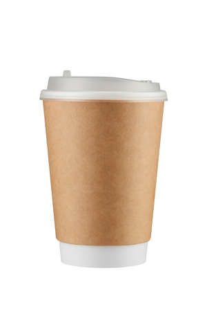 Brown paper coffee cup isolated on white background with clipping path. Real photo.