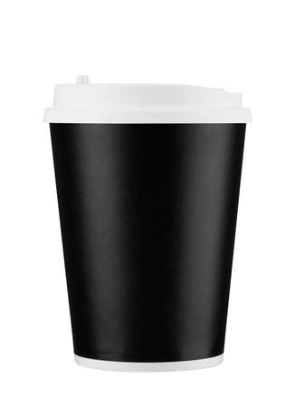 Black disposable coffee cup isolated on white background with clipping path. Real photo. Paper.
