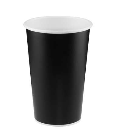 Black paper coffee cup isolated on white background with clipping path. Real photo.