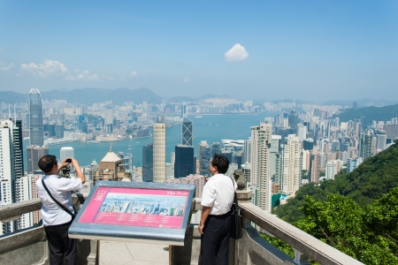 HONG KONG-SEPTEMBER 7 Tourists or local residents are seen The Peak viewpoint on September 7, 2009 in Hong Kong