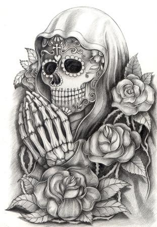 Arte cráneo Día del Dibujo dead.Hand en papel. Foto de archivo - 32085963