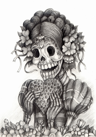 mexico: Art Skull Day of the dead.Hand Drawing on paper.