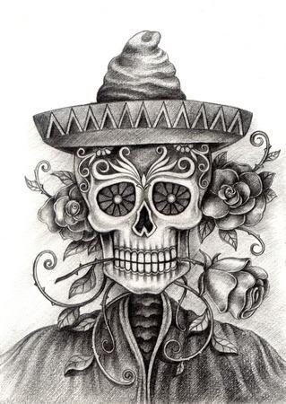 Kunst Schedel Dag van de dead.Hand Tekening op papier. Stockfoto