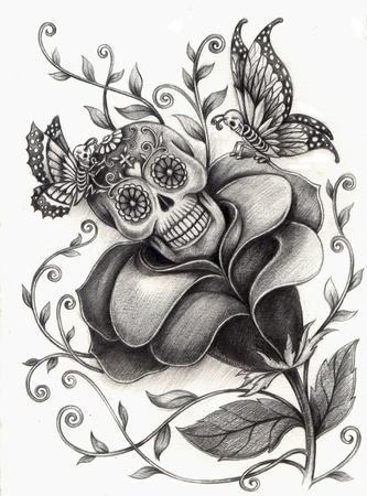 farfalla tatuaggio: Arte Cranio Giorno della dead.Hand disegno su carta. Archivio Fotografico