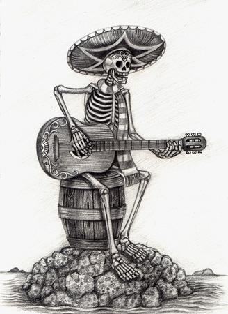 Arte cráneo Día del Dibujo dead.Hand en papel.