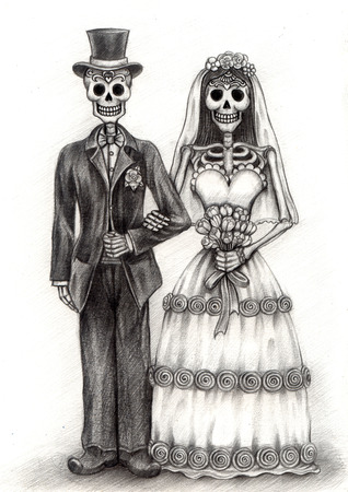 mexico culture: Art Skull Day of the dead.Hand Drawing on paper.