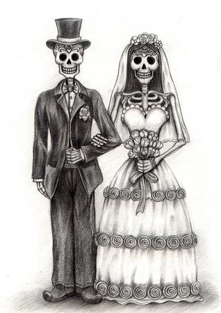 esqueleto: Arte cr�neo D�a del Dibujo dead.Hand en papel.
