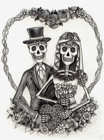 skeleton: Art Skull Day of the dead.Hand Drawing on paper.