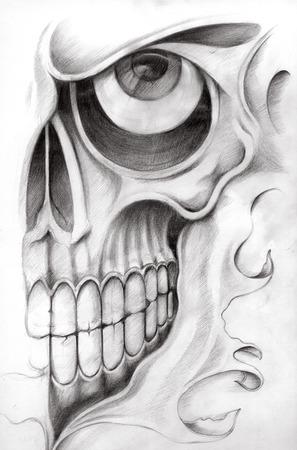 metaal: Schedel Tattoo. Hand tekening op papier.