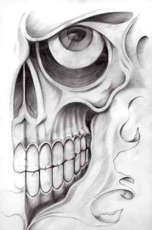 Skull Tattoo. Hand Drawing on paper.