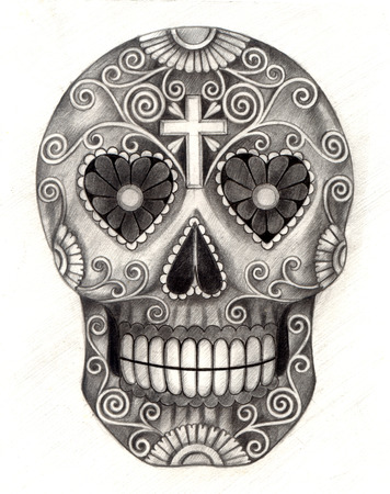 christian festival: Art Skull Day of the dead. Hand drawing on paper.