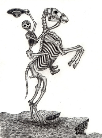 Kunst Schedel Dag van de doden. Hand tekening op papier.