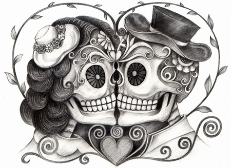 mexican culture: Art Skull Day of the dead. Hand drawing on paper.