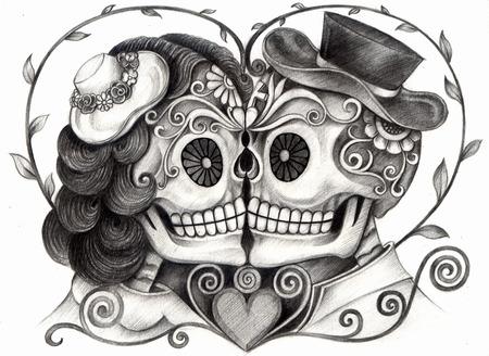 esqueleto: Arte Skull Día de los muertos. Gráfico de la mano en el papel.