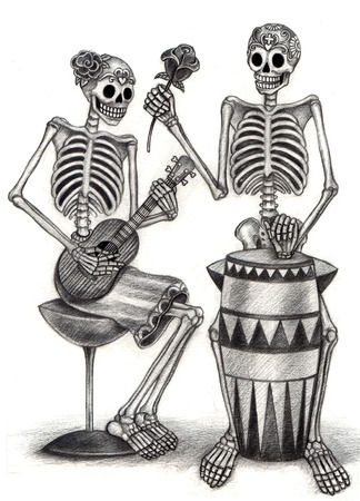 all souls' day: Art Skull Day of the dead. Hand drawing on paper.