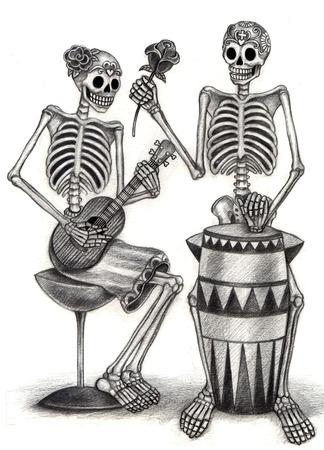 Arte Skull Día de los muertos. Gráfico de la mano en el papel. Foto de archivo - 32257679