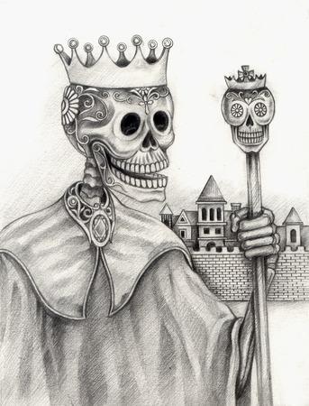 Arte cráneo Día del Dibujo dead.Hand en papel. Foto de archivo - 32369749