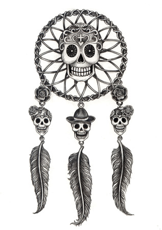 Art Skull Dream Catcher Day of the dead.Hand drawing on paper. photo