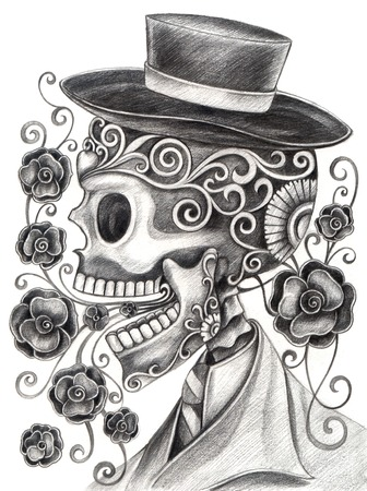 skull tattoo design: Art Skull Day of the dead.Hand Drawing on paper.