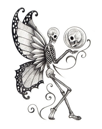 dead insect: Skull Tattoo. Hand Drawing on paper.