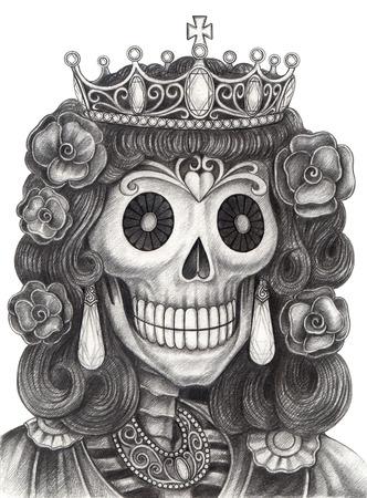 Art Skull Day of the dead.Hand desenho no papel. Foto de archivo - 32442223