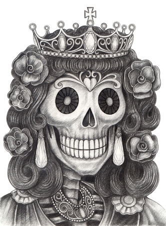 skull and crown: Art Skull Day of the dead.Hand Drawing on paper.
