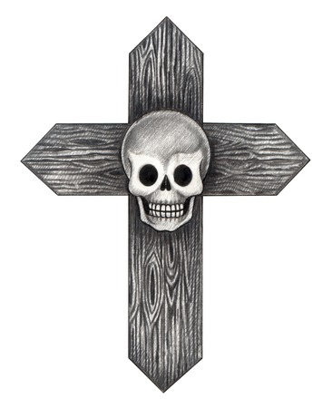 Skull Cross Tattoo . Hand drawing on paper. Stock Photo