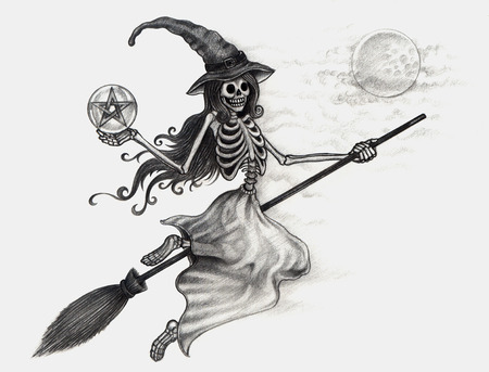 all souls' day: Halloween Skull witch. Hand drawing on paper.