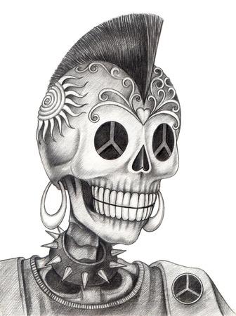 Cráneo punk.Hand dibujo sobre papel. Foto de archivo - 32614896
