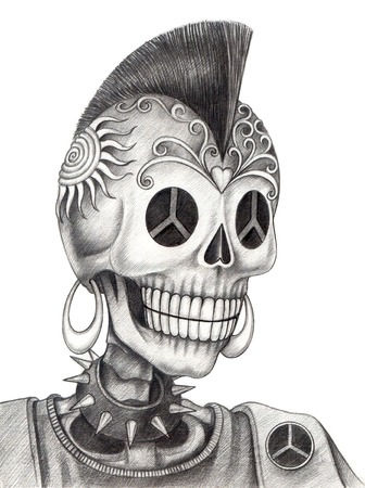 Skull punk.Hand drawing on paper.
