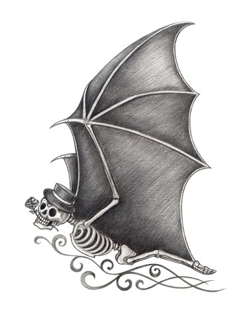 all souls' day: Art Skull Bat Day of the dead. Hand drawing on paper.