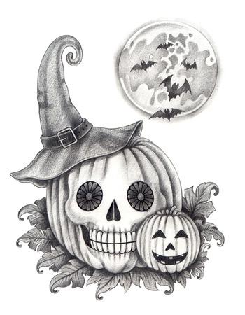 Halloween skull pumpkin tattoo . Hand drawing on paper.