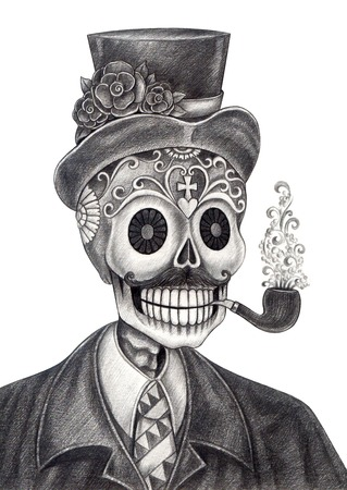 rose tattoo: Art Skull Day of the dead.Hand Drawing on paper.