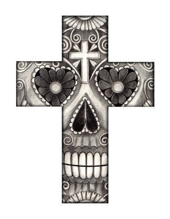 Art skull cross day of the dead. Hand drawing on paper. photo