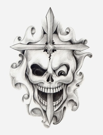 Skull Cross Tattoo .Hand drawing on paper. photo