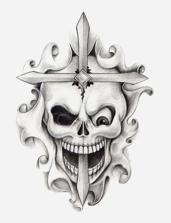 rustler: Skull Cross Tattoo .Hand drawing on paper.