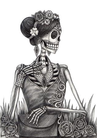 Art Skull Día de los muertos. Gráfico de la mano en el papel. Foto de archivo - 32845826