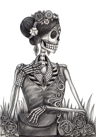 voodoo: Art Skull Day of the dead. Hand drawing on paper.